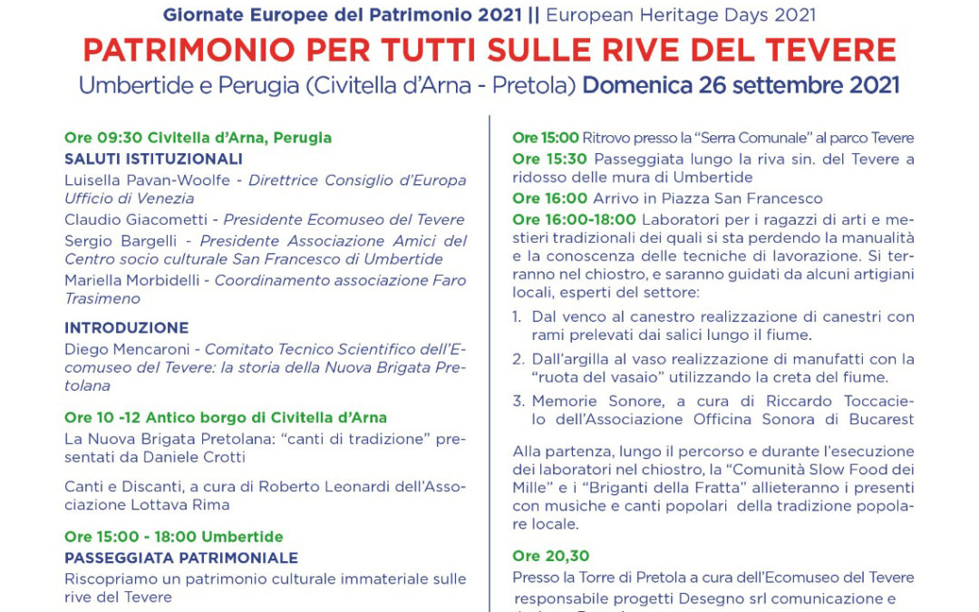 26 settembre 2021 GIORNATA EUROPEA DEL PATRIMONIO- Umbertide/Perugia